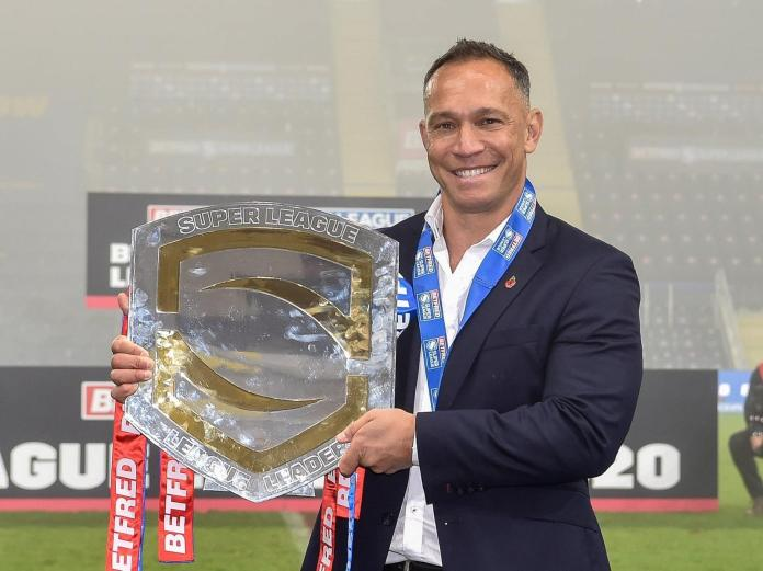 Coach Adrian Lam with the league leaders' shield