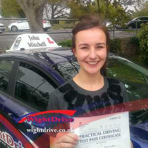 Letitian-Rackett-driving-test-pass-2015-with-John-Mitchell-isle-of-wight-driving-instructor