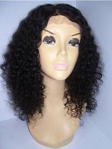 Natural Black Curly Shoulder Length Remy Human Lace Wigs