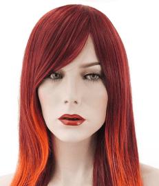 22 Straight Red Orange Wig for White Women