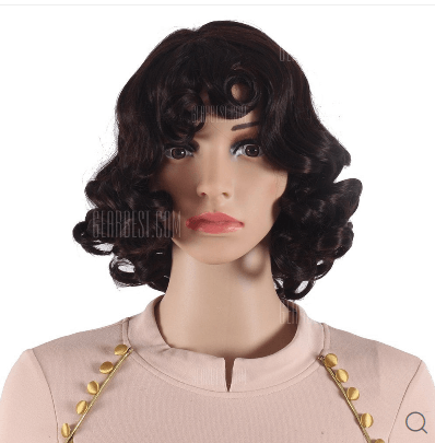Short Curly Synthetic Wig for White Women