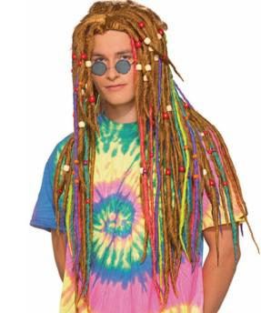 Hippie Rasta Blonde Rainbow Dreadlock Wig