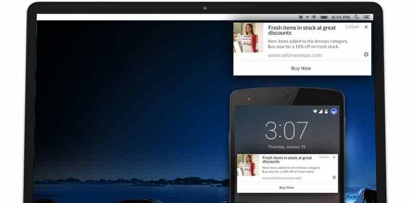 example browser push notification commerce