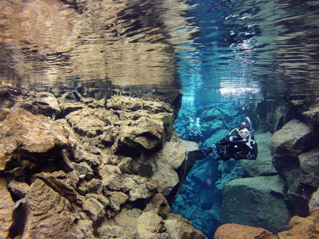 diving in Silfra, Thingvellir, Dive, Iceland, tours, when in Iceland, guide to Iceland, between tectonic plates, clearest water in the world