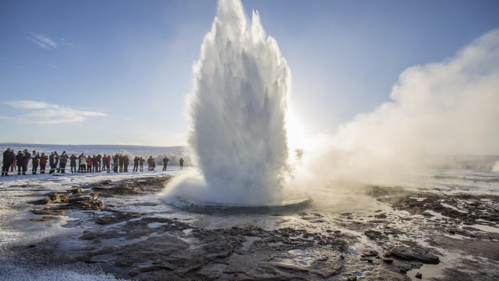 Storkkur geyser erupting in the Golden Circle in Iceland