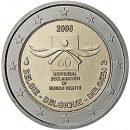 2 Euro Belgien 2008 Münze Menschenrechte