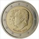 Spanien 2014 2 Euro Münze Thronwechsel Felipe VI und Juan Carlos I