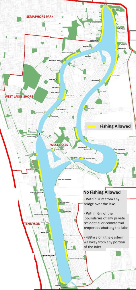 West Lakes fishing spots as depicted on this adaption of a City of Charles Sturt Map