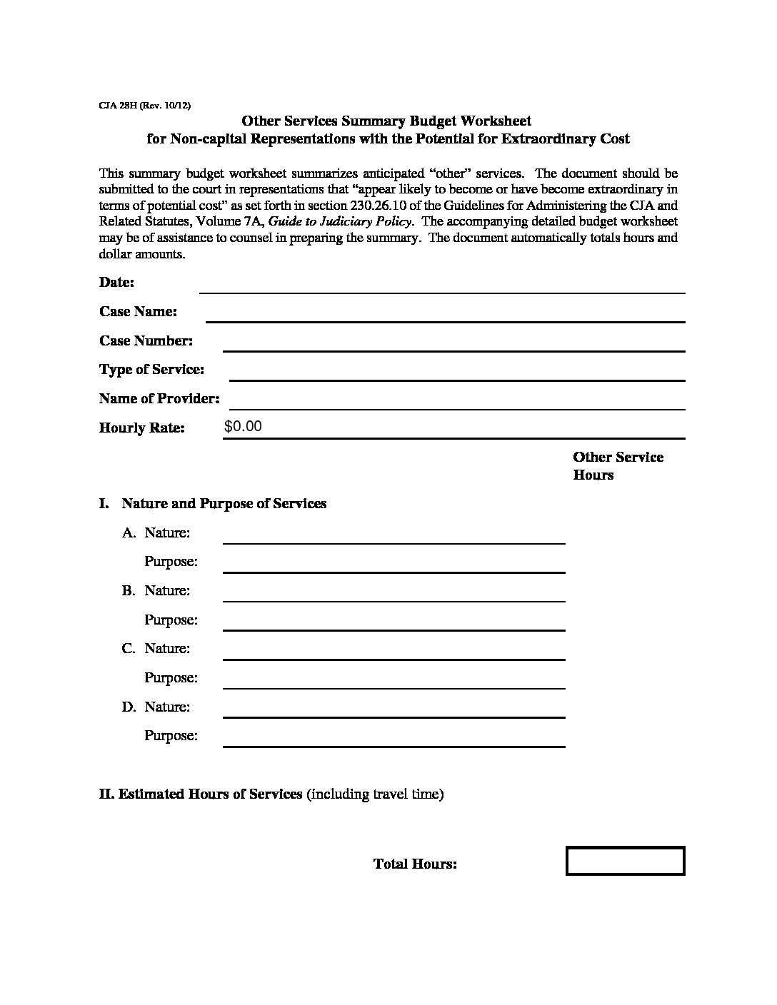 Cja28h Other Services Summary Budget Worksheet For Non