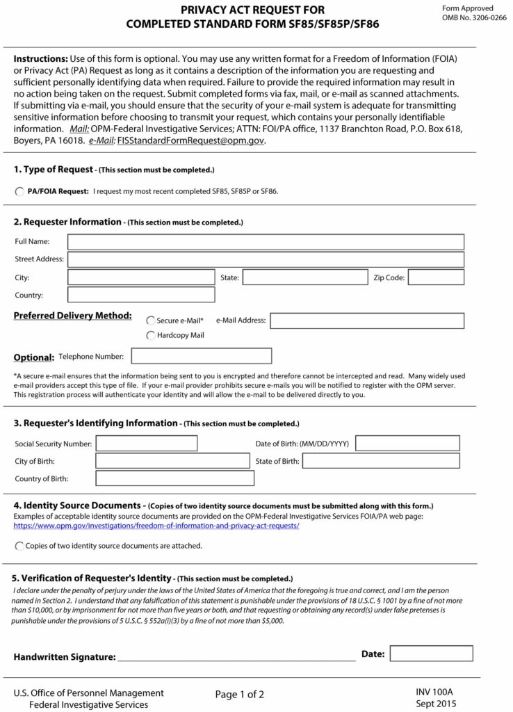 Personal Security Questionnaire Sf 86 Online