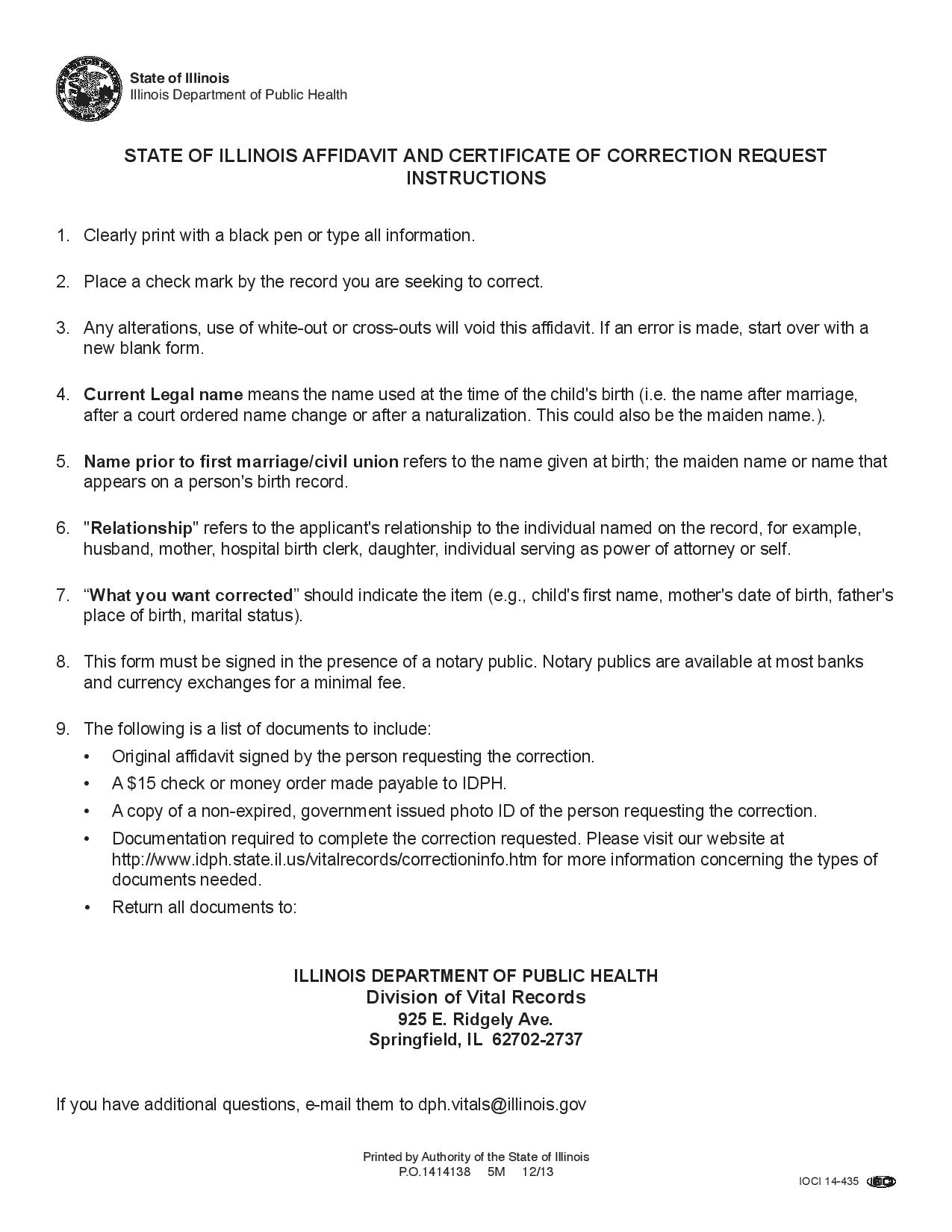 Free Illinois Affidavit And Certificate Correction Request