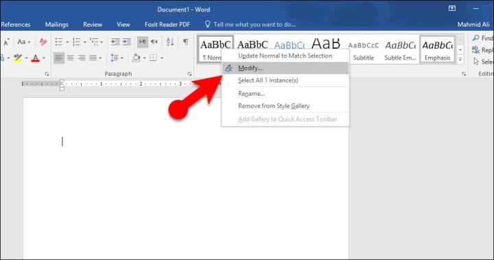 Change Default Font Settings in Microsoft Word 2016