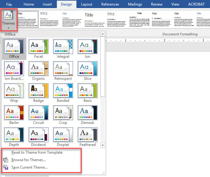 Apply Document themes in Microsoft Office Word 2016