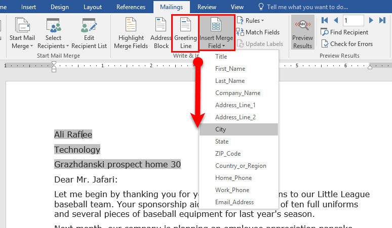 how to create a mail merge letter