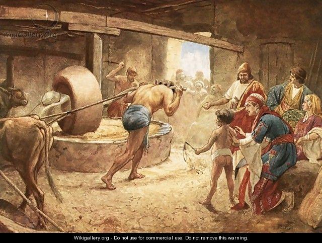 Samson grinding in prison at Gaza - William Brassey Hole