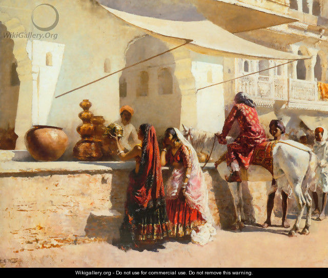 A Street Market Scene, India - Edwin Lord Weeks