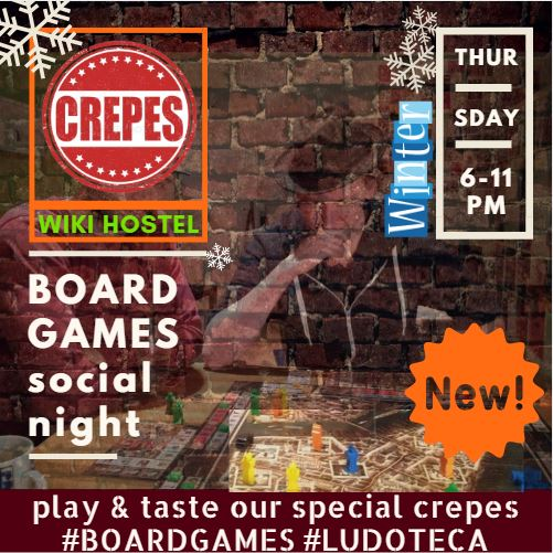 WIKI HOSTEL BOARD GAMES CREPERIE winter