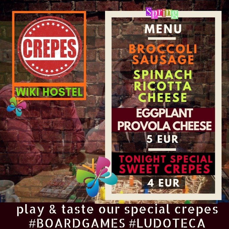 menu CREPERIE & BOARD GAMES - spring menu