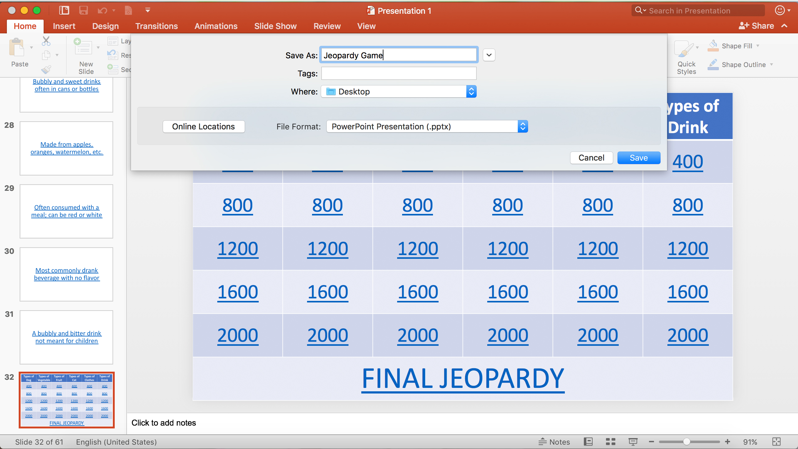 Multi Step Equations Jeopardy Game