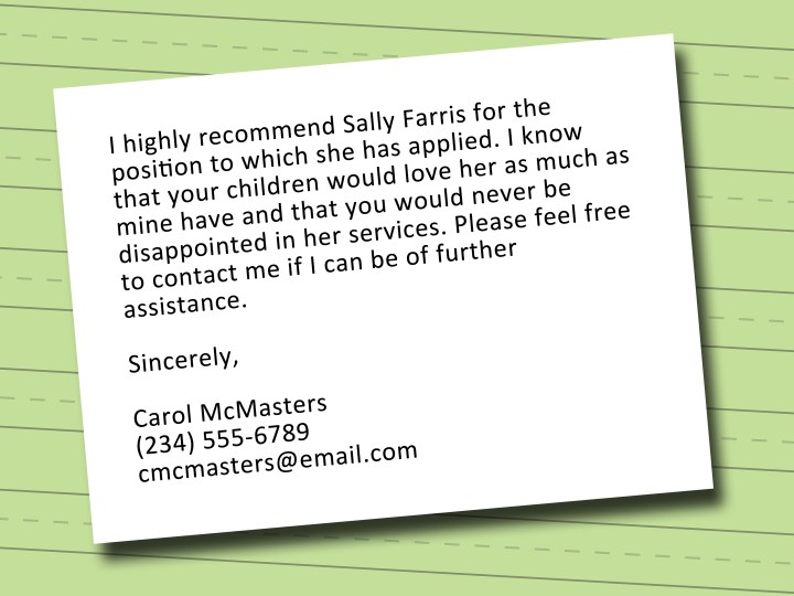 Recommendation letter template nanny poemview child care recommendation letter sample gallery format spiritdancerdesigns Images