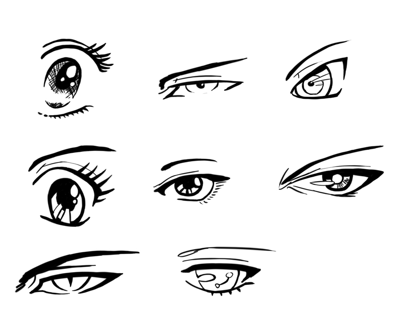 anime eyes boys colouring pages