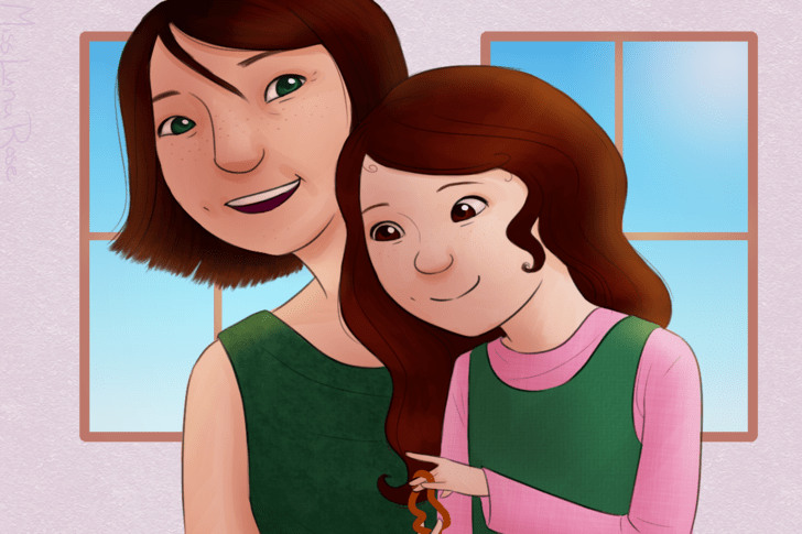 Mom Smiles while Autistic Daughter Stims.png