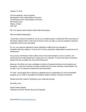 Sample Letter To Ambassador