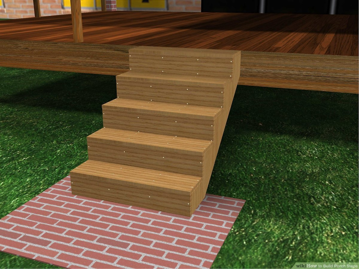 How To Build Porch Steps 13 Steps With Pictures Wikihow | Pre Built Wooden Steps | Oak | Exterior | Pre Built | Box | Prefabricated