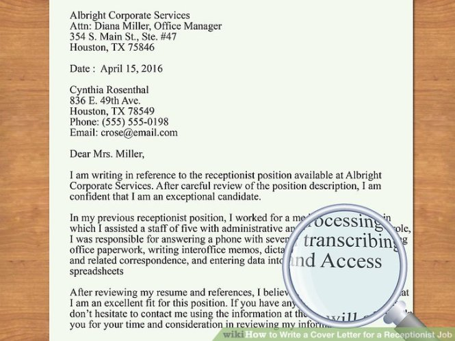 Image Led Write A Cover Letter For Receptionist Job 6