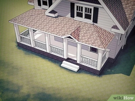 How To Design A Front Porch 14 Steps With Pictures Wikihow | Home Front Steps Design | House | Main Door Step | Unusual | Front House Terrace | Rounded