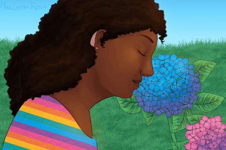 Deaf Autistic Girl Smells Hydrangeas.png