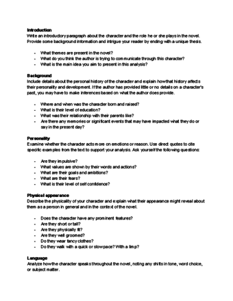 Literary Analysis Paper Example