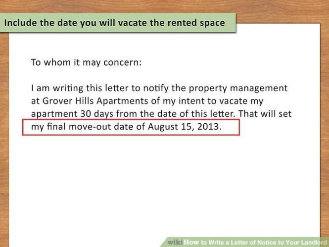 how to write a 30 day notice to vacate