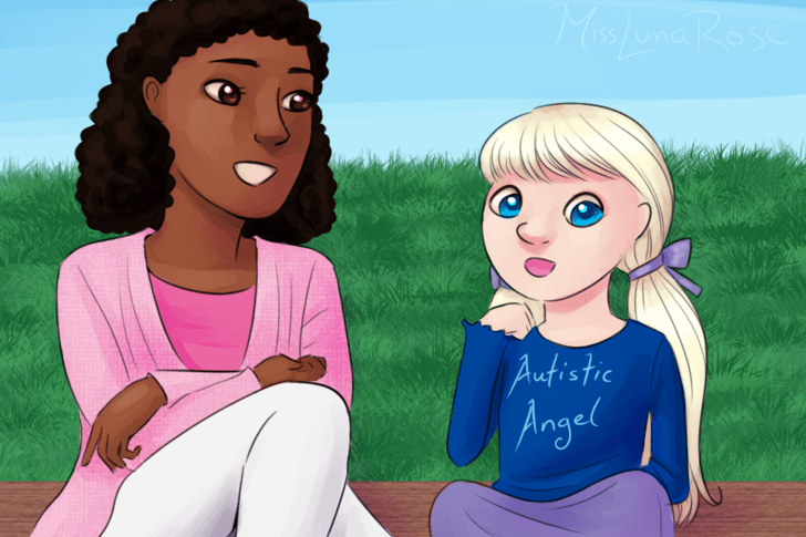 Woman and Autistic Girl Sitting.png