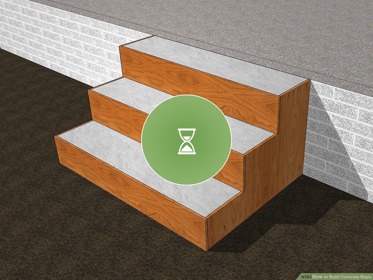How To Build Concrete Steps With Pictures Wikihow   Putting Wood Over Concrete Steps   Wood Flooring   Front Porch   Building   Flooring   Composite Decking