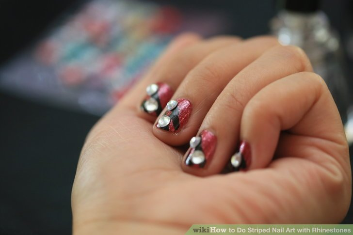 Image Led Do Striped Nail Art With Rhinestones Step 9