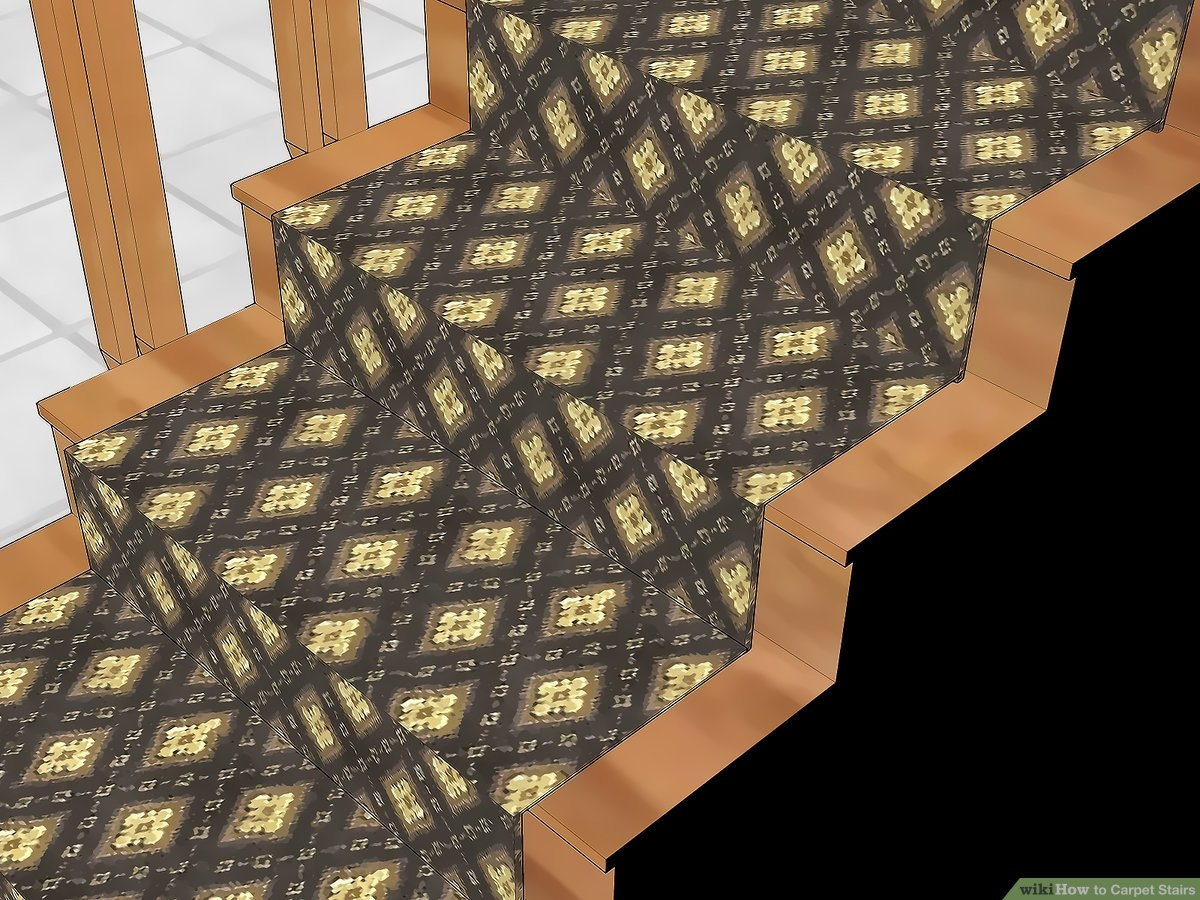 How To Carpet Stairs With Pictures Wikihow | Stair Carpets Near Me | Basement | Diamond Pattern | Wall To Wall | Berber | Stylish