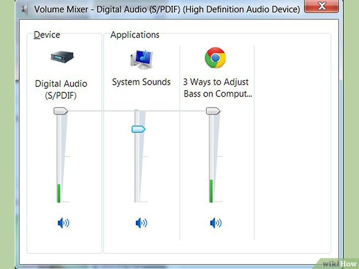 ضبط مستوى جهورية الصوت في جهاز الكمبيوتر