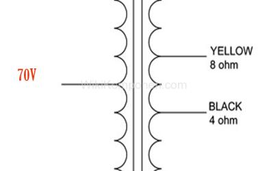 Cara Kerja dan Fungsi Trafo Matching OT . Gambar tersebut merupakan skema output dan input trafo OT. Bagian kiri merupakan sisi impedansi tinggi, sedangkan bagian kanan merupakan sisi impedansi rendah.