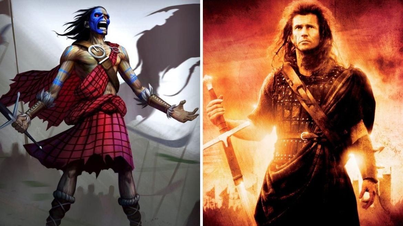 "Eddie em ""The Clansman"" e filme 'Braveheart'"