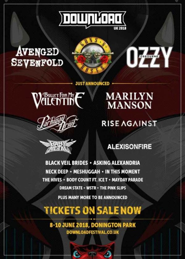 Ozzy Osbourne, Guns N' Roses e A7X serão headliners do Download Festival 2018