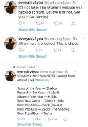 suposta lista do Grammy 1