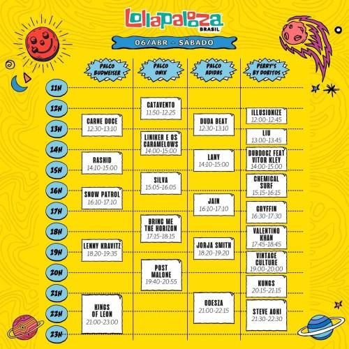 Lollapalooza sábado horários