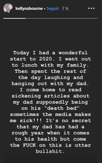Stories de Kelly Osbourne, filha de Ozzy