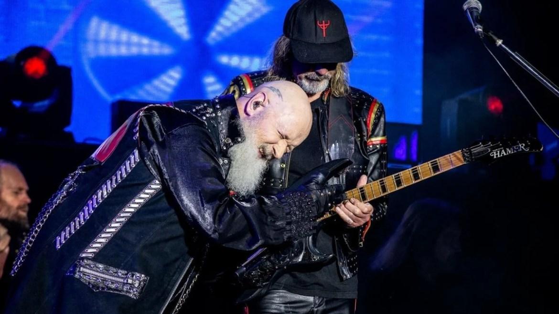 Rob Halford e Glen Tipton, do Judas Priest, no festival Bloodstock 2021