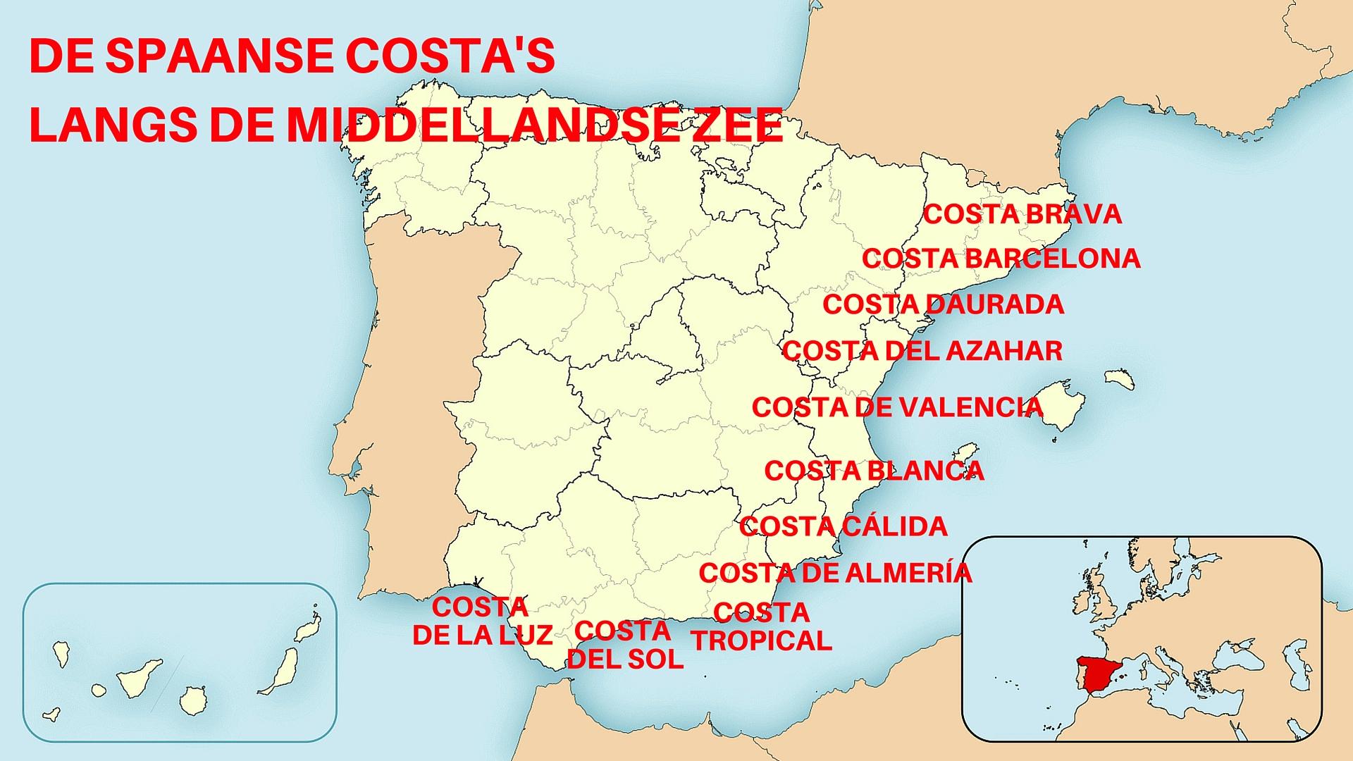 De Spaanse Costa's Aan De Middellandse Zee