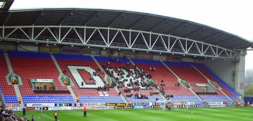 Mostly empty stand at the DW Stadium, Wigan