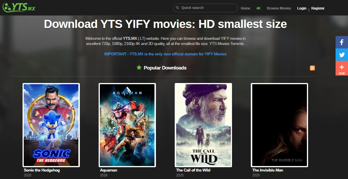YIFY YTS Torrent Proxy Unlock YTS Movies Mirror sites and alternatives [100% Working]