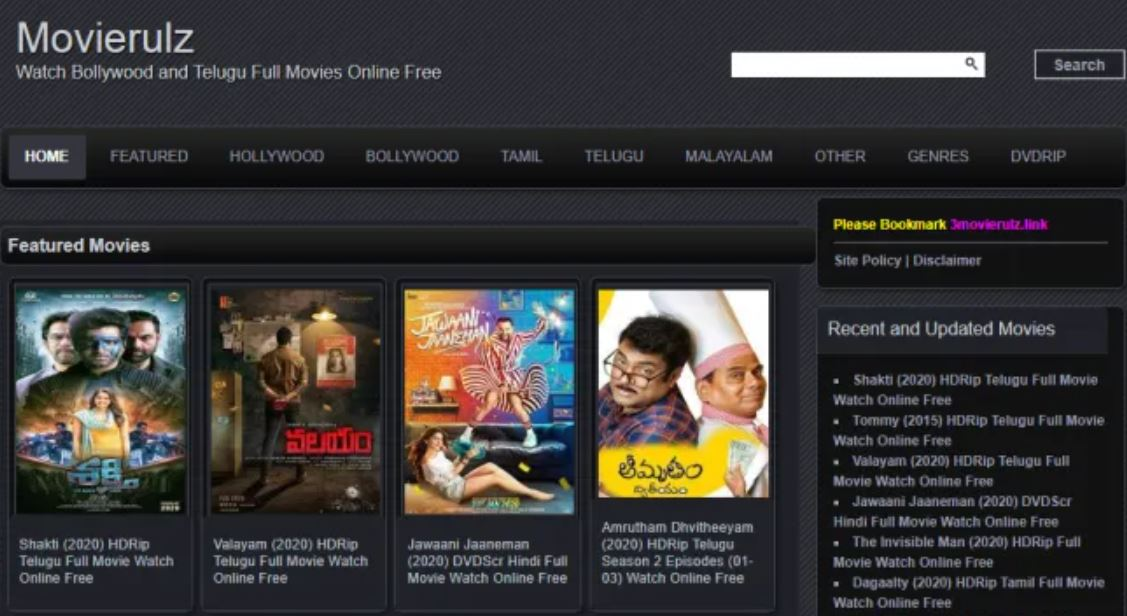 Movierulz Watch Bollywood, Telugu, Tamil, Malayalam movies on Movierulz