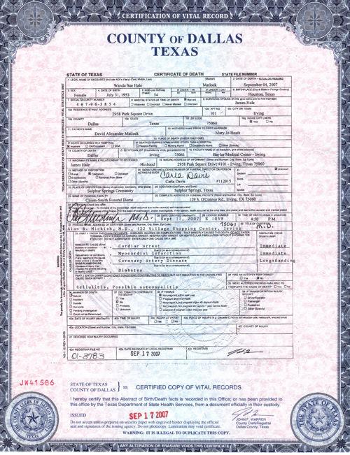 Death Certificate Wanda Sue Mattlock Hale